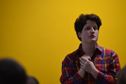 Dr Emma Vickers presents. Photo Clare Bear